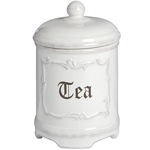 Hill Interiors Keramik-Dose mit Aufschrift Coffee/Sugar/Tea, antik-weiß (Einheitsgröße) (Tea)