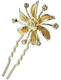 Au Plaisir de los ojos–imperdibles pic-chignon dorados Cabello Boda Flor Cristal (por 6)