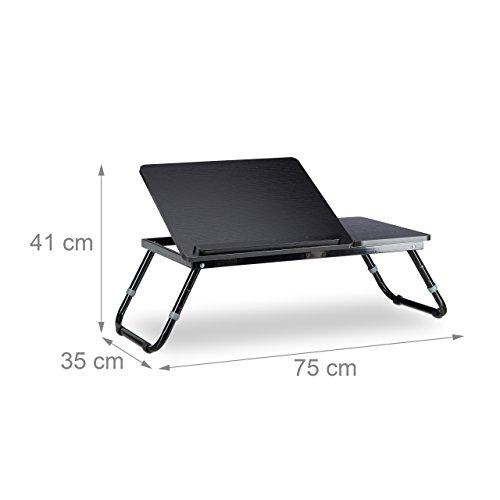 Relaxdays Laptoptisch Lapdesk Betttisch Betttablett Notebook Tisch Beistelltisch Laptop BTH 60 cm x 35 cm x 24 cm Holz schwarz mit Leseklappe hhenverstellbar klappbar Lapdesks