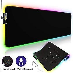 Tronsmart RGB Alfombrilla de Ratón Gaming XXL (800 x 300 x 4.0mm),Spire-10 Modos Efectos de Luces,Superficie Texturizada Suave y Cómoda con Base de Goma Antideslizante para Gamers,PC y Portátil