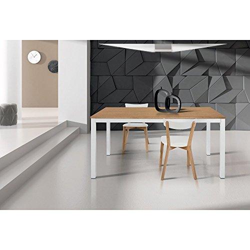 Tavolo da pranzo moderno di design allungabile cm 90 x 160/220 rovere struttura bianca piano naturale per sala da pranzo