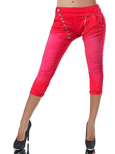 N123 Damen 3/4 Capri Jeans Hose Shorts Damenjeans Hüftjeans Caprijeans Boyfriend, Größen:34 (XS), Farben:Rot