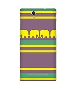 Stripes And Elephant Print (34) Sony Xperia C3 Case