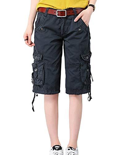 Minetom Bermuda Cargo Shorts Damen Knielang Sommer Kurze Hose Frauen Lose Stretch Boyfriend Knopfleiste Tasche Stoffhose Leinenhose Freizeithose Große Größen (Medium, Dunkelblau) - Cargo Damen Shorts