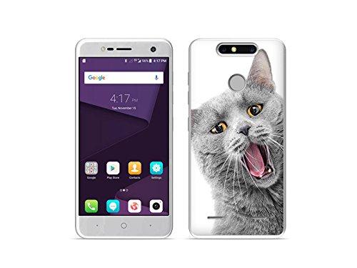 etuo ZTE Blade V8 Mini - Hülle Foto Case - Lächelnde Katze - Handyhülle Schutzhülle Etui Case Cover Tasche für Handy