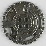 Dill® Vollmetallknopf Steampunk Zahnrad, 30mm - mattsilber