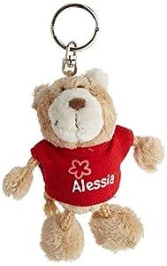 NICI n15773-Llavero Oso con Camiseta Alessia, Rojo