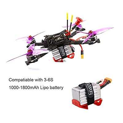 Makerfire 4pcs Landing Gear 30 Degree 3S 4S 5S 6S 1000-1800mAh Lipo Battery Mount Plate Protector Guard with Non-slip Strap for RC Racing Drone