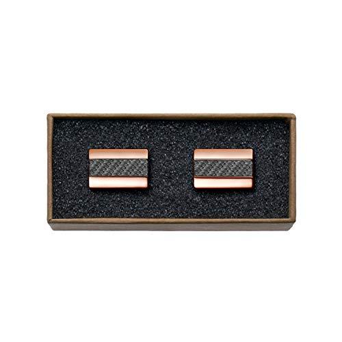 """VALDERO® Herren Manschettenknöpfe -\""""Premium Carbon\"""" in Box (1 Paar - Rosé Gold Metall, Schwarzes Carbon)"""