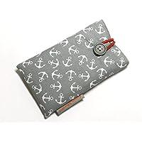 Handytasche aus Stoff - ANKER AUF GRAU - mit Knopf für SAMSUNG Galaxy S9 , S8 , S7 edge , A8 , A6 und J7 - gepolsterte Handyhülle - Geschenk Weihnachten Geburtstag - Smartphone-Hülle / Smartphone-Tasche - Handy-Tasche / Handy-Hülle - cotton case / sleeve - Baumwolle - waschbar