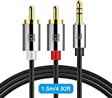 RCA Cable,TechRise 1.5 Meters Gold-Plated 3.5mm Jack to 2 RCA/Phono Stereo Y Splitter Audio Aux Cable - Male to Male