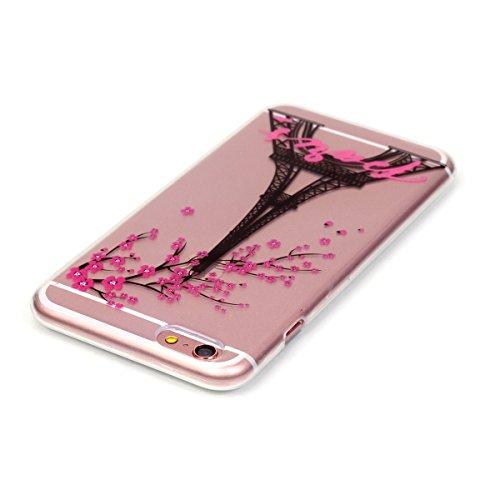 iPhone 7 Hülle,iPhone 7 Case,TOYYM TPU Hülle Schutzhülle Crystal Case Silikon Transparent Hülle Pflaumenblüte Muster Anti-Kratz Zurück Case Cover für iPhone 7 4.7 inch Eiffelturm
