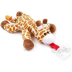 Chupete con jirafa BabyHuggle - Chupeta con peluche para bebé, Juguete de felpa suave con chupón separable de silicona, Chupador con correa, cierre & Sonido. Porta-mordedor