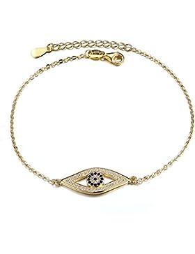 Kaletine Blau Böser Auge Armband Sterling Silber ArmKette Hamsa Armreif 24x10mm mit Zirkonia Charme und Kabelkette...