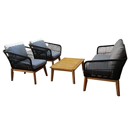 OUTLIV. Loungemöbel Outdoor Mauritius Sofagruppe Akazie/Rope inkl. Kissen Gartenlounge Outdoor Lounge Garten Terrasse Balkon