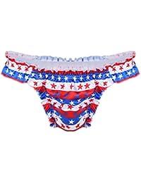 Freebily Tanga Slip Erótica con Estampados Estrellas Ropa Interior Bikini de Volantes para Hombres