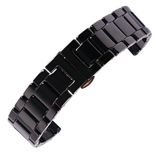 16mm Luxus glatte schwarze Keramik Uhrenarmband Ersatzband für ladies'watch mit - 16mm Band Timex Watch