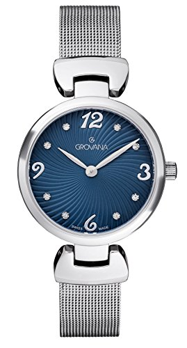 Grovana Women's Quartz Watch with Blue Dial Analogue Display and Silver Stainless Steel Bracelet 4485.1135