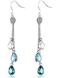 Neoglory Jewellery Swarovski Eléments Cristal Long Pendentif Boucles D'Oreilles Bijoux Femme Bleu