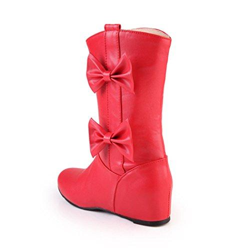 ZQ@X Autunno e Inverno testa a crescere dolce wild College wind mettere piede femmina corto-Stivali Stivali femmina Red