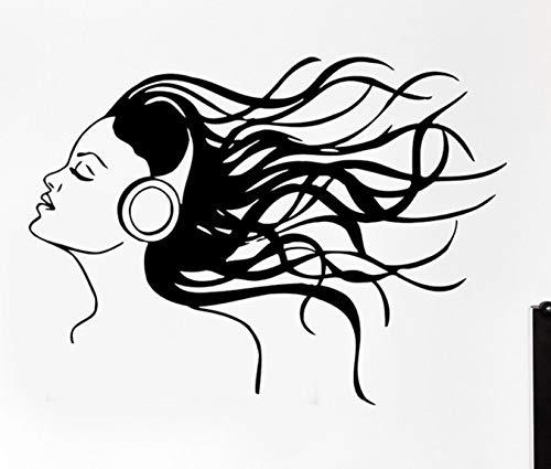 Dalxsh Kopfhörer Musik Haar Coole Wandtattoos Rock Pop Song Wandaufkleber Für Teen Schlafzimmer Abnehmbare Kunstwandhauptdekor 42X57 Cm
