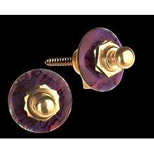 Q-Part QP SLG-1533 - Enganche de correa para guitarra, color dorado y púrpura