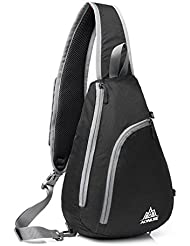 Mochila de hombro, GSTEK impermeable honda pecho Crossbody Mochila para deportes al aire libre, escuela, Viajes - Negro