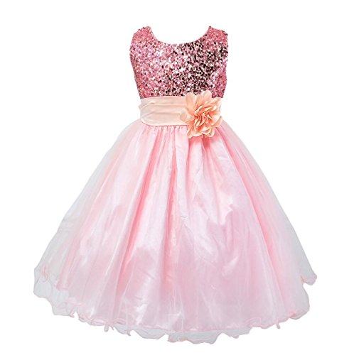 Mädchen Pailletten-Blume Hochzeit Brautjungfer Party Kleid Prinzessin Kostüm Outfit Fancy Festzug Geburtstag Party Kids Kleid, rosa