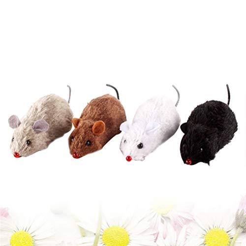 STOBOK Wind up Topi Giocattoli Animali Orologio Meccanico Realistico cercando Giocattoli educativi per i Bambini - 4 Pezzi (Colore Casuale)