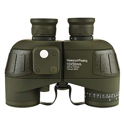LINDANIG 10x50 Anti-Fog-Fernglas mit Koordinaten-Kompass für Erwachsene, Kompaktes HD-Profi-Fernglas BAK4 Prism FMC-Objektiv, für den Außenbereich