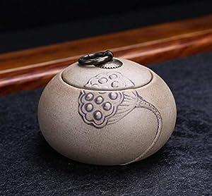 Ustensile Boîtes scellées en céramique portatives rétro petites boîtes à thé pot de stockage de thé (Lotus) Pot