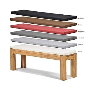 Sitzbank Rio Bonito 140x38cm + Bankauflage Creme, Holzbank Massivholz Pinie, geölt und gewachst, Farbton Honig hell…