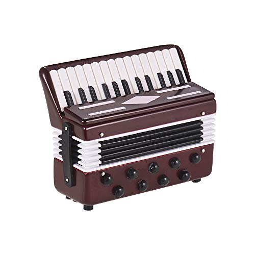 Muslady Mini Akkordeon Modell Exquisiter Desktop Musikinstrument Dekoration Ornamente Musikalisches Geschenk mit Zarte Box