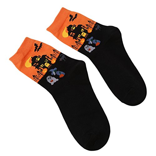 Gluckliy Winter Herbst Frauen in Tube Socke Halloween Frauen Patterned Socken (Socken Halloween)
