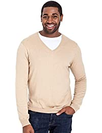 WoolOvers Pull à col V - Homme - Cachemire & Coton Sand, M