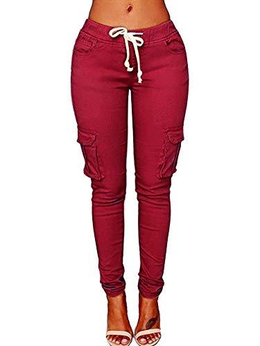Denim Cordhose (VRTUR Hosen, Damen Freizeithose Stretch Beiläufig Skinny Jogginghose Mode Hip Push up Slim Fit Pants Einfarbig Hose, Bequeme Elastischer Taille Jeans WeinRot M)