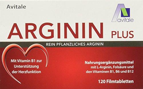 Avitale Arginin plus Tabletten mit rein pflanzlichem Arginin, Vitamin B1, B6, B12 und Folsäure, 1er Pack (1 x 120 Tabletten)