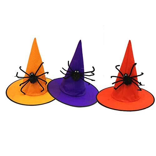 BESTOYARD Halloween Hexe Hut Zauberer Hut Kostüm Dressing Cosplay Roleplay Bühne Leistung Zubehör 3 STÜCKE (Zufällige Farbe)