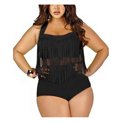 Moin Frauen Plus Size Bikini Set Neckholder Bademode Zwei Teil Badeanzug Schwimmanzug Swimmsuit Swimwear mit Extra Gross Quaste Fransen Farbe Schwarz Größe XXXL