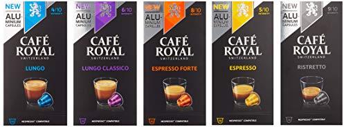 Café Royal Probierbox Classic - 50 Nespresso kompatible Kapseln aus Aluminium, 5 Sorten - Espresso, Espresso Forte, Lungo, Lungo Classico, Ristretto (5 x 10 Aluminium Kapseln)