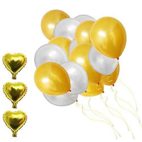 llic Gold & Silber Latex Folie Ballons von Belle Vous - für Geburtstagsfeier, Event Dekoration, Hochzeit, Baby-Duschen, Graduierung - Bulk Dekoration Lieferungen (Bulk-dekorationen)