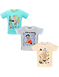 Luke and Lilly Chhota Bheem Printed Round Neck Cotton T-Shirt for Baby Boys Pack of 3