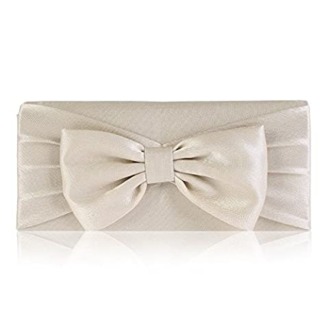 Damara Womens Pretty Bowknot Detail Evening Bridal Bag,Champagne