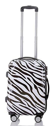 Reise Koffer Trolley mit Polycarbonat ABS Hartschale und Motiv BB (2: 45 Liter - Gr. M, Zebra) 2 Zebra-haut