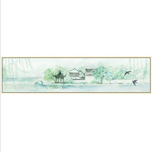 FYBSSB Diamantmalerei Voller Diamant Punkt Bohrer Jiangnan Wasserstadt Frühling Landschaftsmalerei Wohnzimmer Große Malerei Klassischen Chinesischen Stil Neue Aufkleber Diamant Stickerei, 150X47 -
