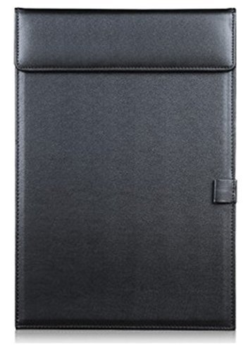 KINGFOM™ Leder Klemmbrett A4,mit Stifthalter (schwarz)