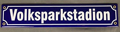 Buddel-Bini Straßenschild Volksparkstadion 40x8 cm Fußball Hamburg Souvenir Emaille Schild -