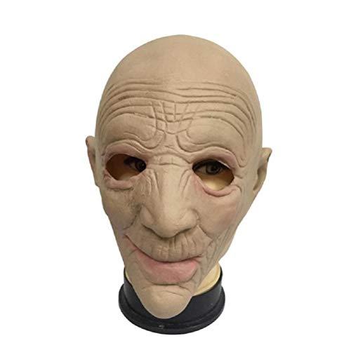 Halloween Maske Alte Frau Bald Kopf Horror Neuheit Lustige Latex Gummi Gruselige Masken für Karneval Kostüm Party ()