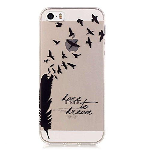 iPhone 5S Hülle, LANDEE Schutzhülle für iPhone 5S / iPhone 5 / iPhone SE Hülle TPU Case Silikon Crystal Clear Case (5S-T-0201) 5S-T-0202
