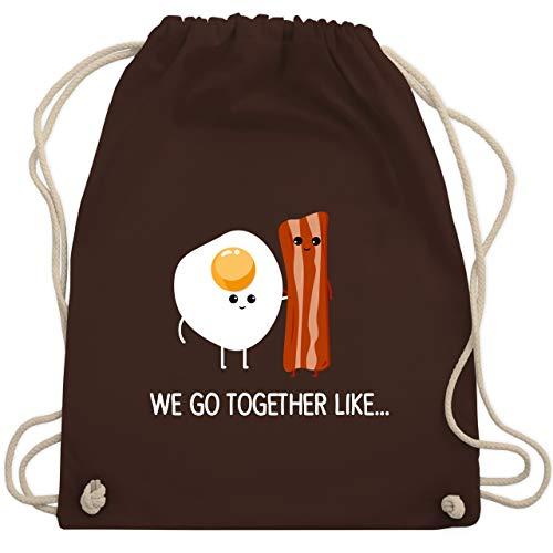 Shirtracer Valentinstag - we go together like. Bacon, Egg - Unisize - Braun - WM110 - Turnbeutel und Stoffbeutel aus Bio-Baumwolle